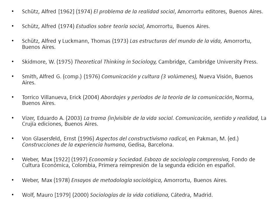 Schütz, Alfred [1962] (1974) El problema de la realidad social, Amorrortu editores, Buenos Aires.